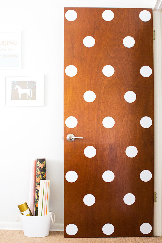 Add some pizazz by decorating your door with big polka dots.