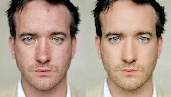 Matthew Macfadyen sports two different looks with the exact same photo.