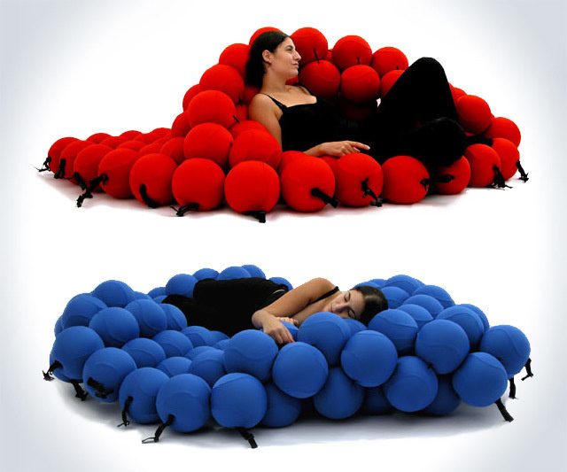And finally, the most important chair of your lifetime: 120 comfy balls, sewn together for your comfort.