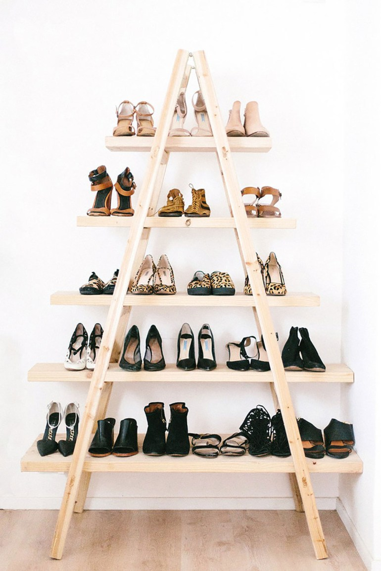 Create a shoe rack out of a ladder.