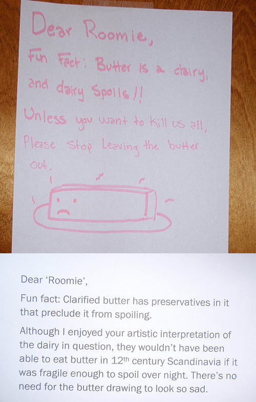 Perhaps if the butter drawing had a happy face instead.