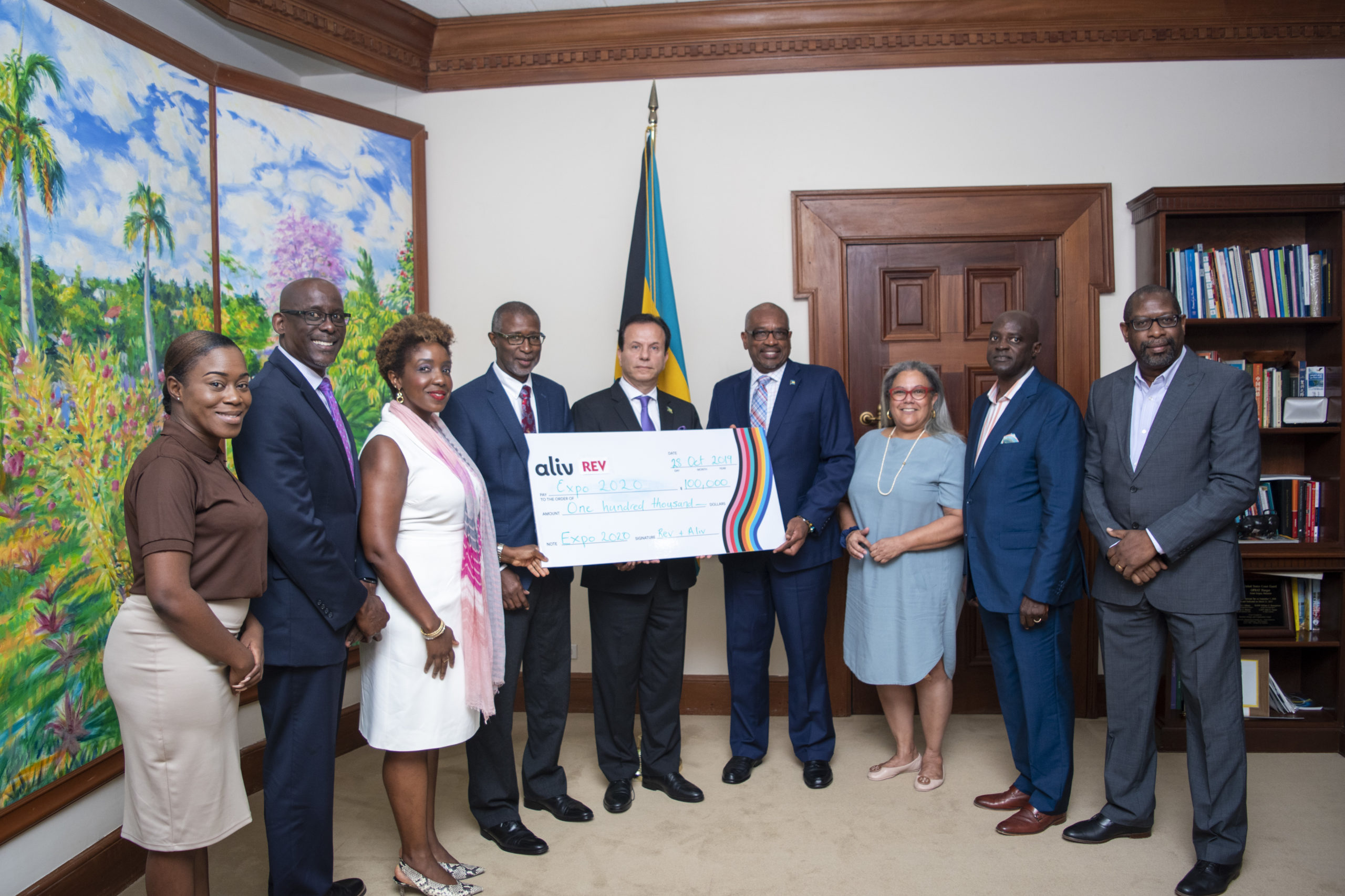 Prime Minister Minnis accepts donation for Expo 2020 Dubai Bahamas Pavilion