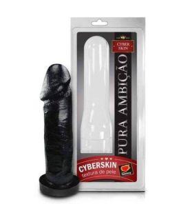 Capa Peniana Cyberskin 16x5cm Preta Sexy Fantasy