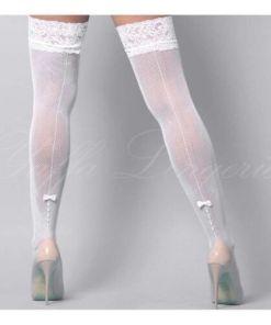 Meia Calça 78 com detalhes floridos e lacinho em silicone - Branco - YAFFA