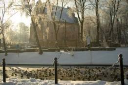 Zamek Rycerzy Krzyżowych w Giżycku zimą