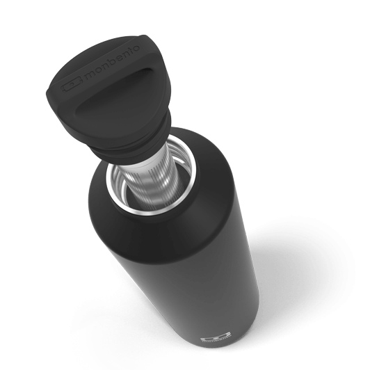 monbento-bouteille isotherme noir onyx - infuseur