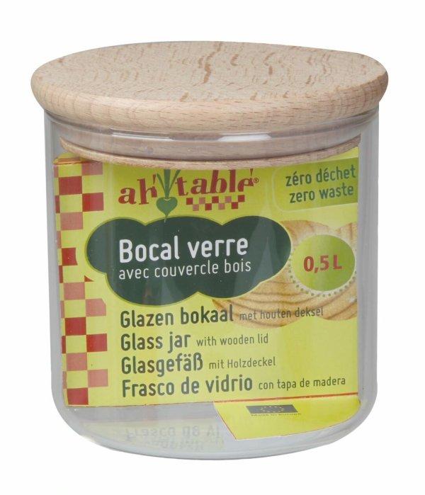 Bocal en verre avec couvercle en bois de hêtre 0.5L