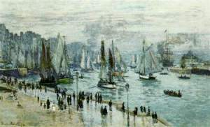 the Fishing Boats Leaving the Harbor,  Claude Monet