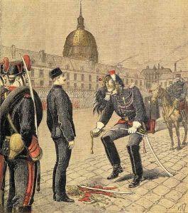 """Degradacja Dreyfusa 13 stycznia 1895 rysunek z """"Le Petit Journal"""""""