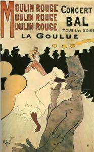 Plakat Henri de Tolouse Lutreca z 1891 roku. W tle La Goule, na pierwszym planie Valentine le désossé