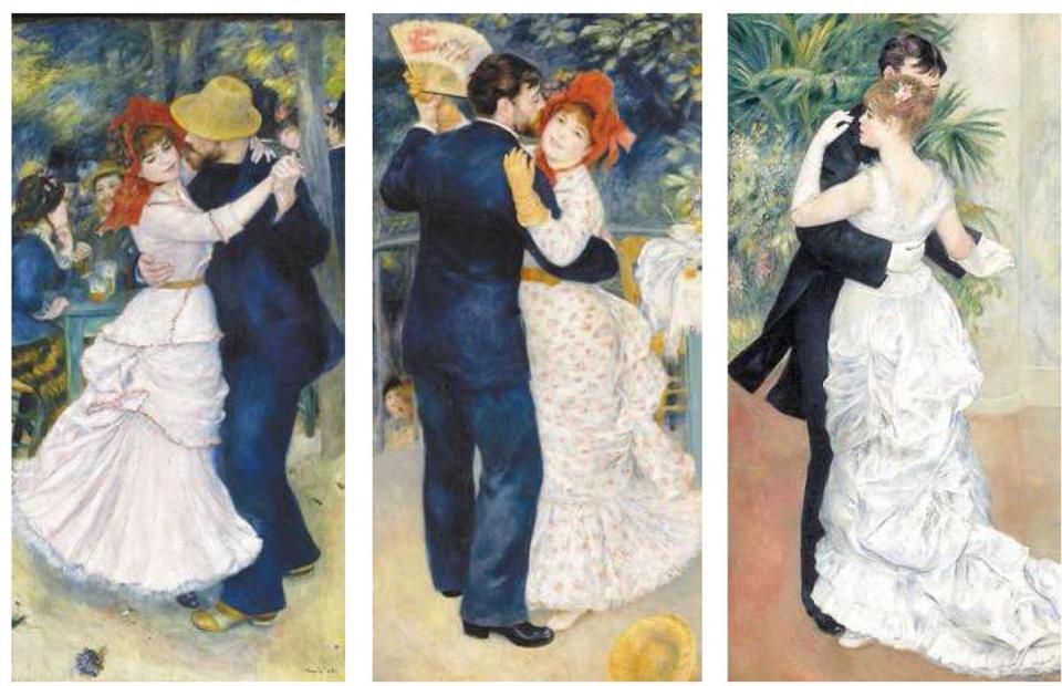 """""""Tańce w Bougival"""" """"Tańce na wsi"""" """"Tańce w mieście"""" 1883 – Auguste Renoir"""