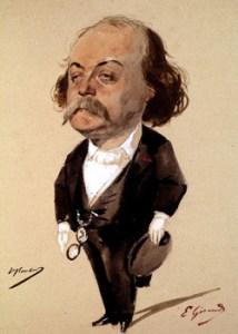 Karykatura Flauberta autorstwa Eugene Giraud