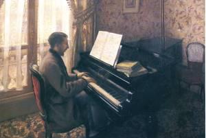 """""""Młody mężczyzna przy pianinie"""" Gustave Caillebotte,1876, zbiory prywatne"""