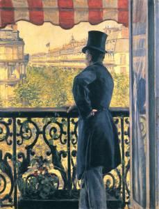 """""""Mężczyzna na balkonie"""" Gustave Caillebotte,, 1880, zbioryprywatne"""