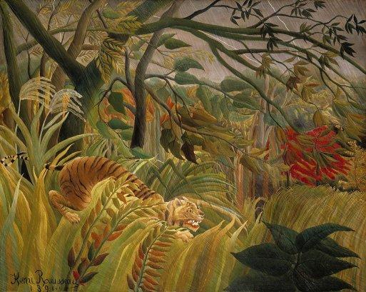 """""""Tygrys podczas burzy tropikalnej"""" 1891 Henri Rousseau"""