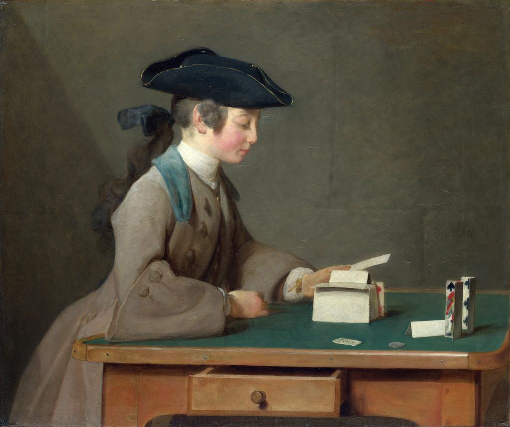 """Rokoko Jean Baptiste-Siméon Chardin - """"Domek z kart"""" 1737 r."""