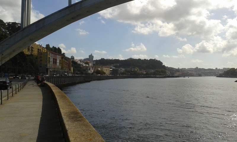 Nábřeží řeky Douro směrem k centru města