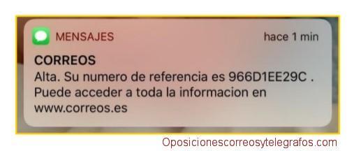recepcion mensaje sms confirmacion alta solicitud oposiciones correos