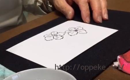 絵手紙,筆,桜動画の画像