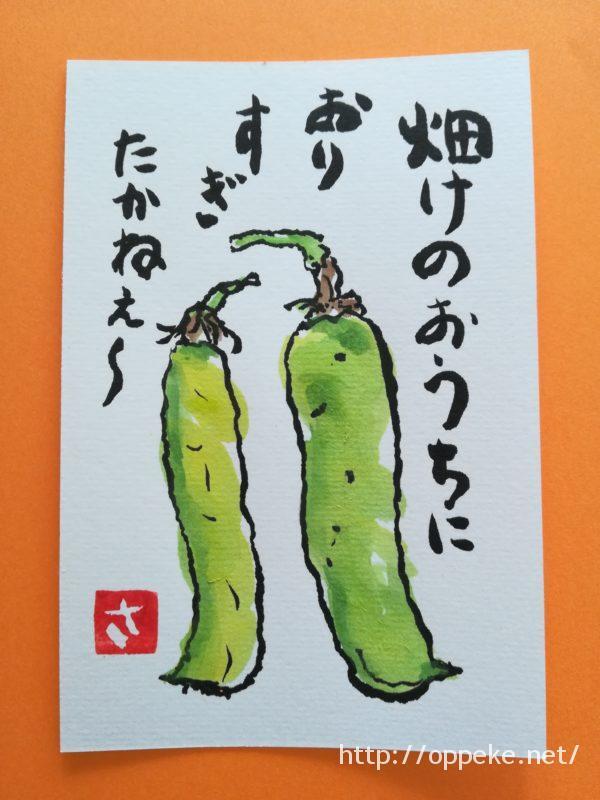 絵手紙,5月,えんどう豆