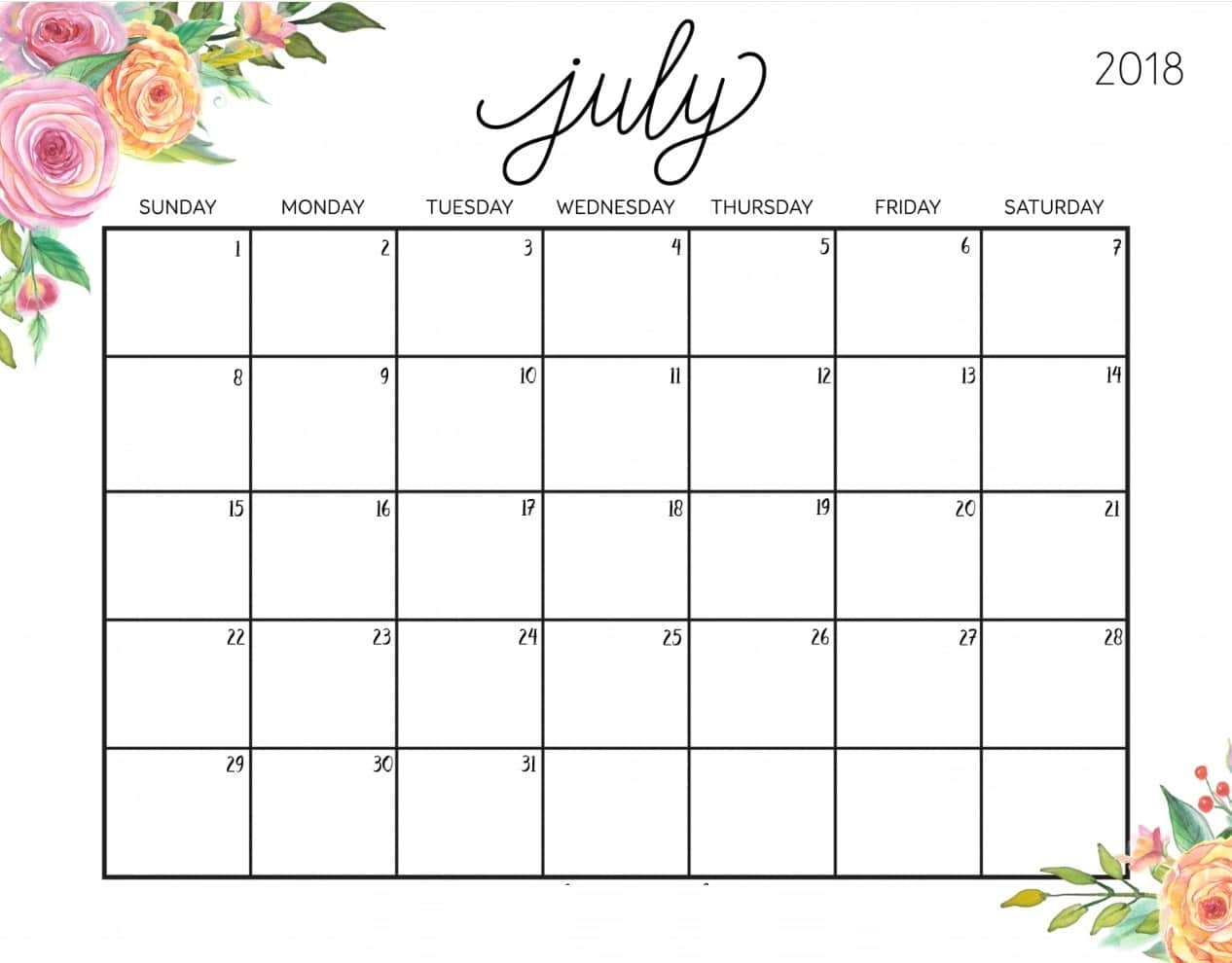 July Calendar Printable Cute Quote Images Hd Free