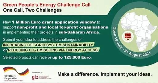 Green People's Energy Challenge 2021 pour les innovateurs en matière d'accès à l'énergie (subvention d'un million d'euros)
