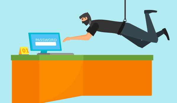 Ninja accediendo de forma secreta a un ordenador con información confidencial