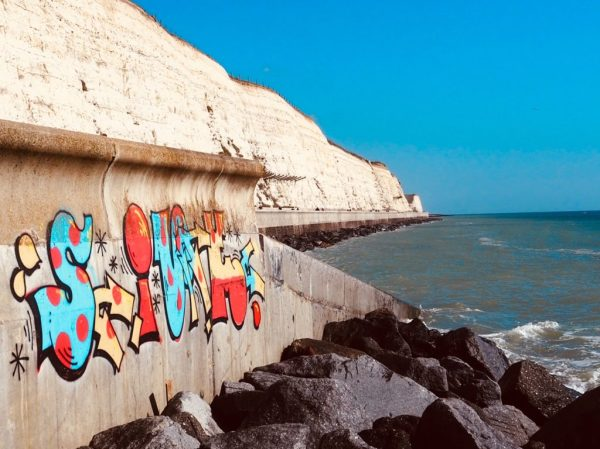 Undercliff Walk from Brighton Marina with graffiti