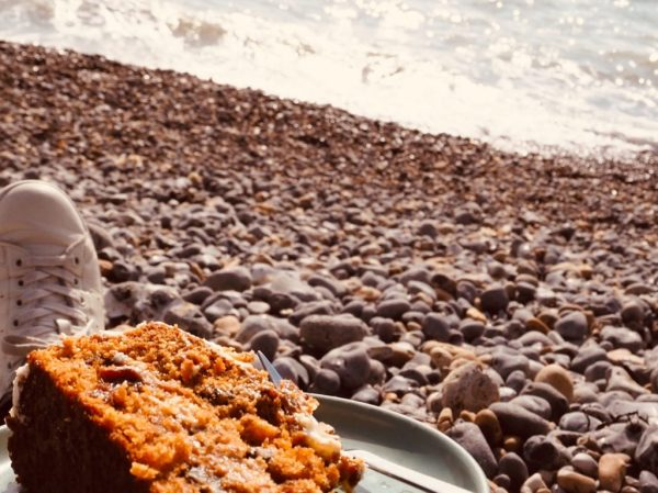 Carrot cake on the beach