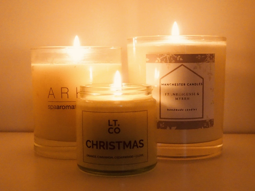 Scented Christmas candles from Laura Thomas, Ark skincare and Manchester Candles