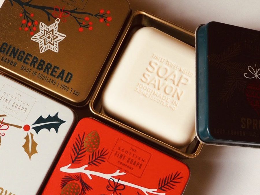 Christmas scented soaps in tins from Scottish Fine Soaps