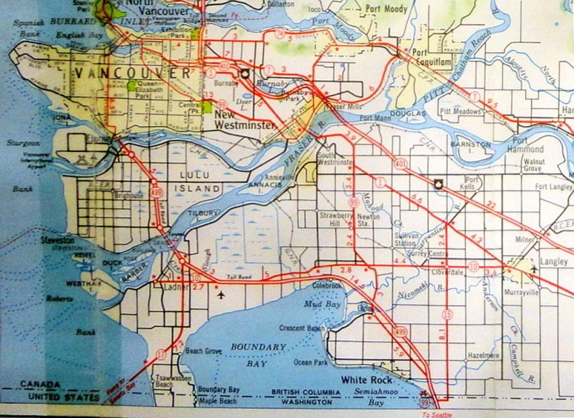 From Trunk Roads to Freeways     Lower Mainland Highways Maps 1930     1966 Vancouver Area Highways   BA map