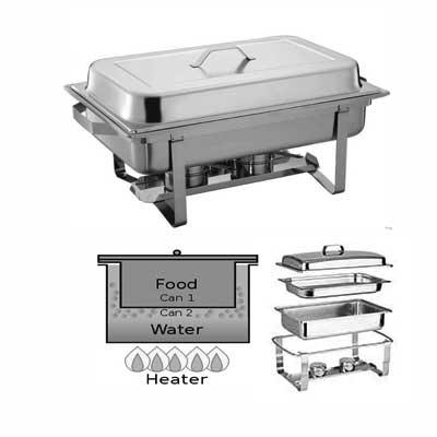 Posuda za podgrevanje hrane na gel Chafing dish ravni poklopac