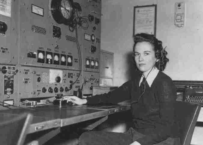Radio Officer Emily Foxall at the Clipperton OCA Radio Service, 1948