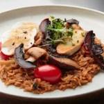 Arroz meloso com texturas de cogumelos