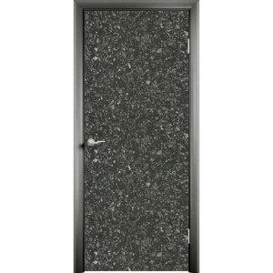 Дверь облицованная пластиком CPL (глухая, черное серебро)