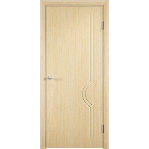 Шпонированная дверь Молния (глухая, беленый дуб)
