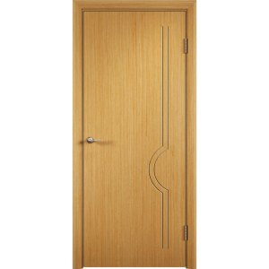 Шпонированная дверь Молния (глухая, дуб)