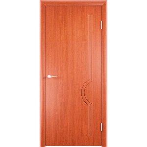 Шпонированная дверь Молния (глухая, вишня)