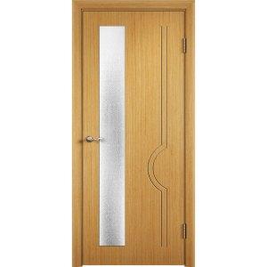 Шпонированная дверь Молния (со стеклом, дуб)