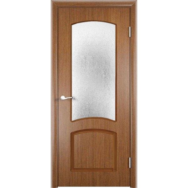 Шпонированная дверь Наполеон (со стеклом, темный дуб)