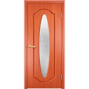 Шпонированная дверь Орбита (со стеклом, вишня)