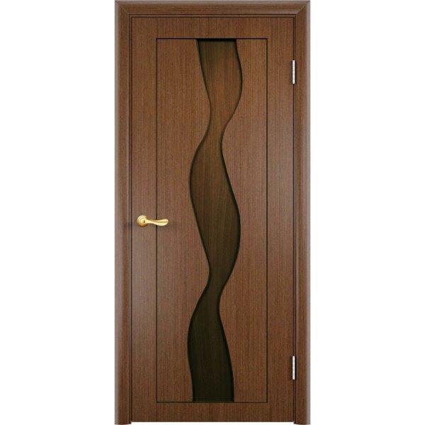 Шпонированная дверь Вираж (глухая, темный орех)