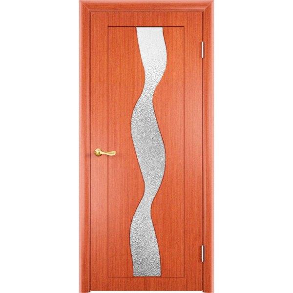 Шпонированная дверь Вираж (со стеклом, вишня)