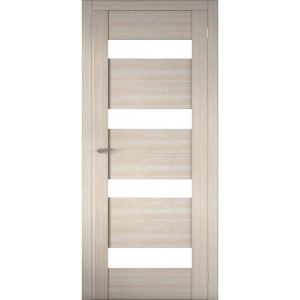 Межкомнатная царговая дверь Р-02 (со стеклом, кремовая лиственница)