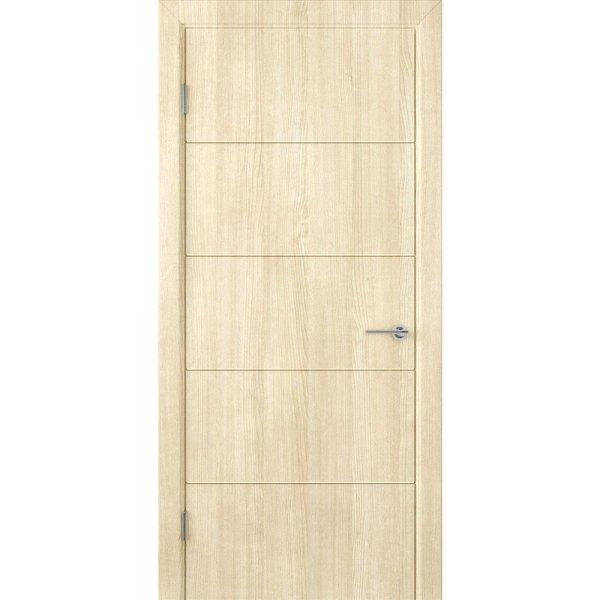 Шпонированная дверь Кварта (ДГ, беленый дуб)
