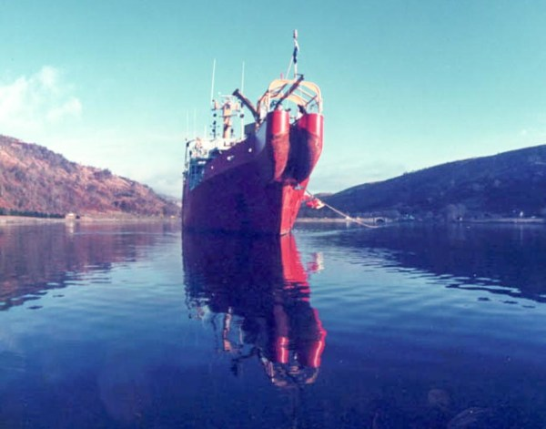 Cableship laying optical fibre cable in LochFyne