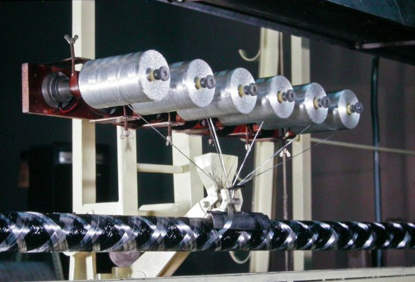 Close-up of stranding the glass fibre reinforcement on top of the Carbon fibre strands