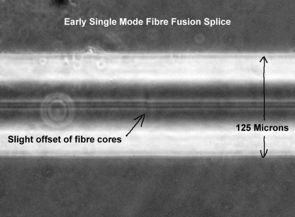Fusion spliced optical fibre