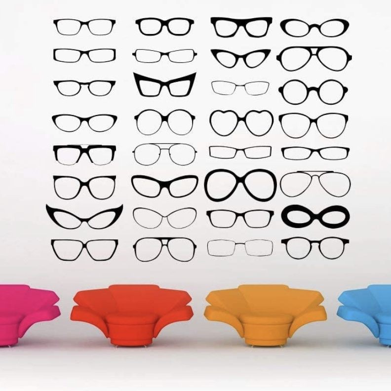 glasses wall decals